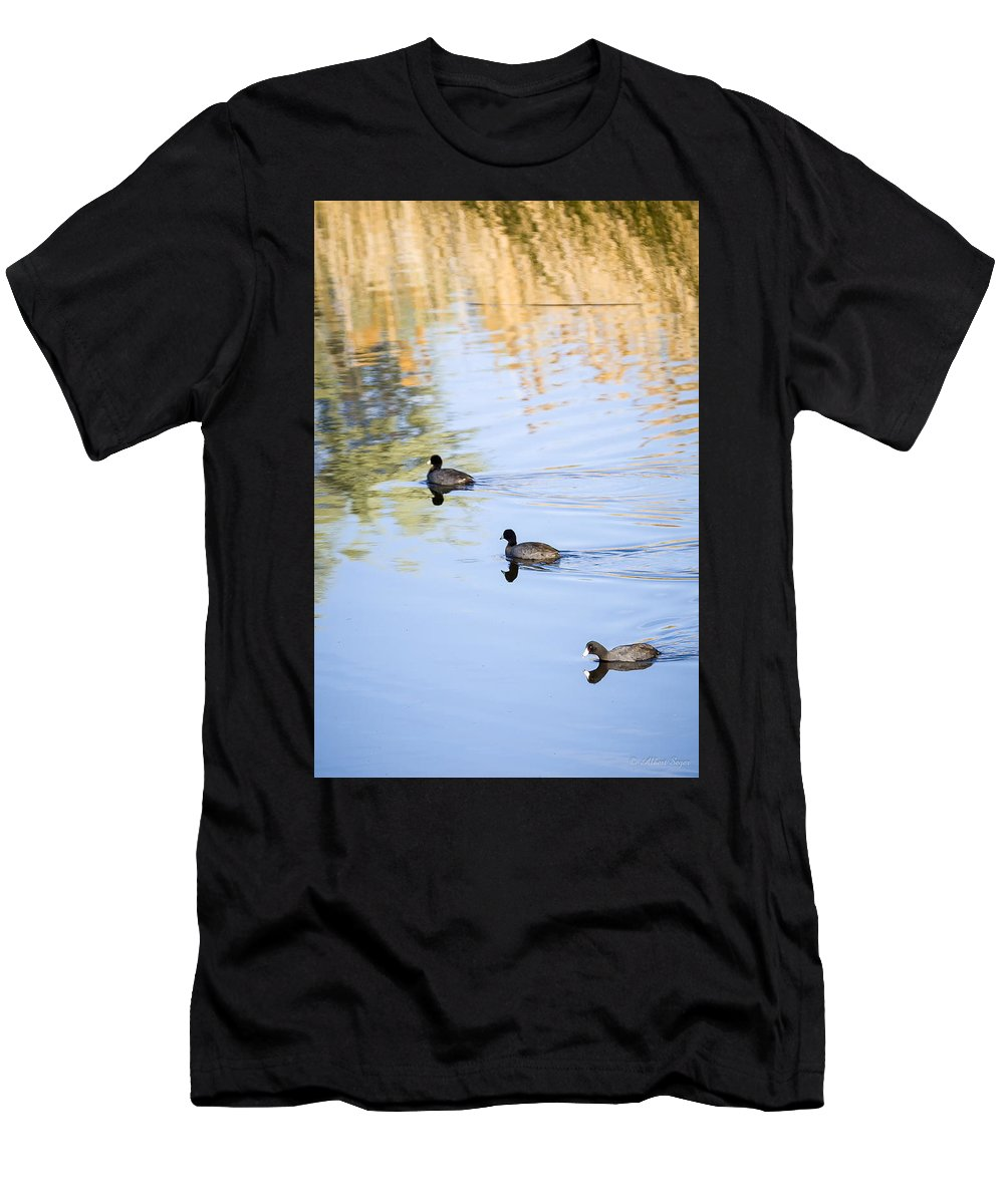 Wildlife Men's T-Shirt (Athletic Fit) featuring the photograph Getting My Ducks In A Row by Albert Seger