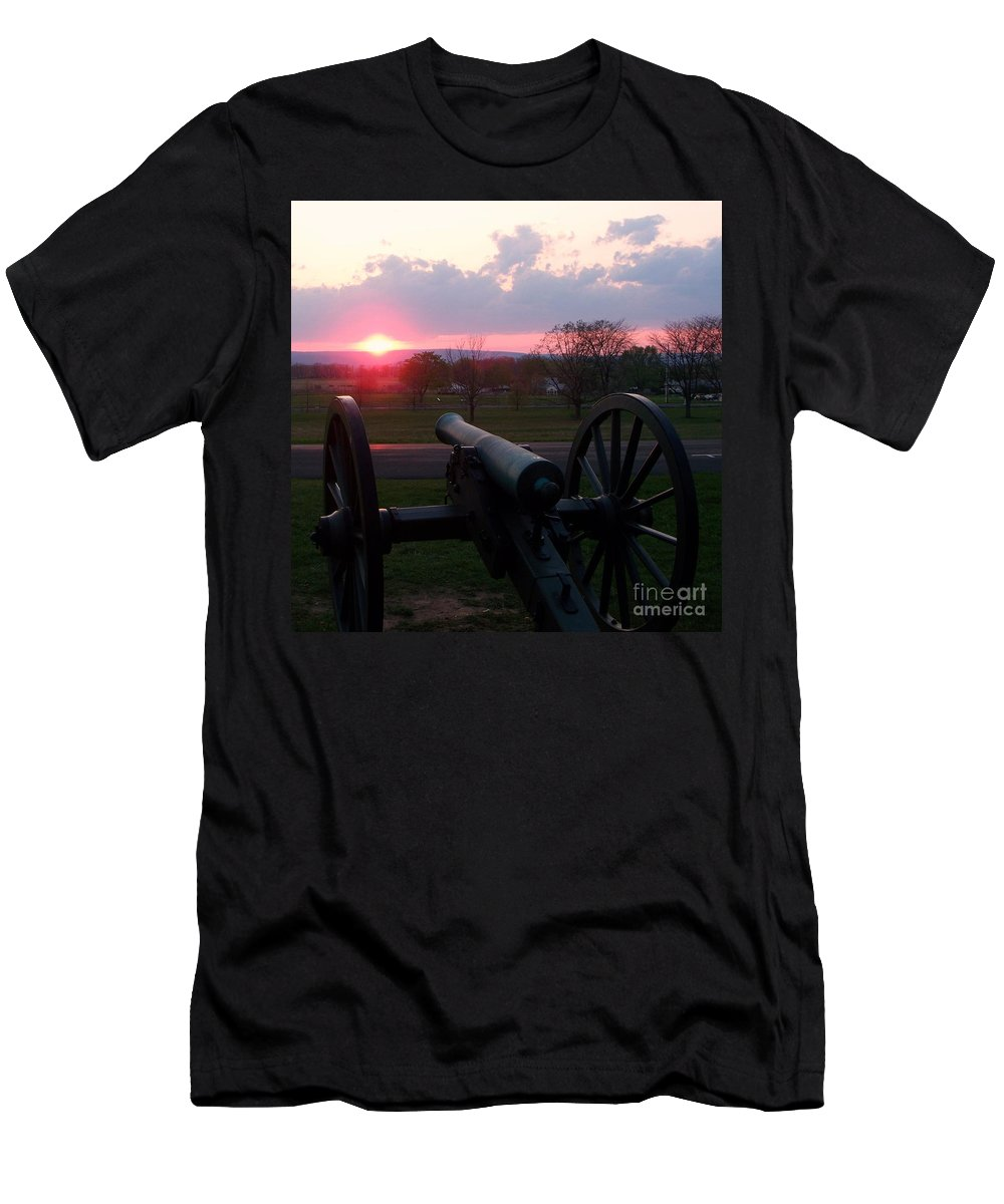 Gettysburg Cannon Men's T-Shirt (Athletic Fit) featuring the painting Gettysburg Cannon by Eric Schiabor