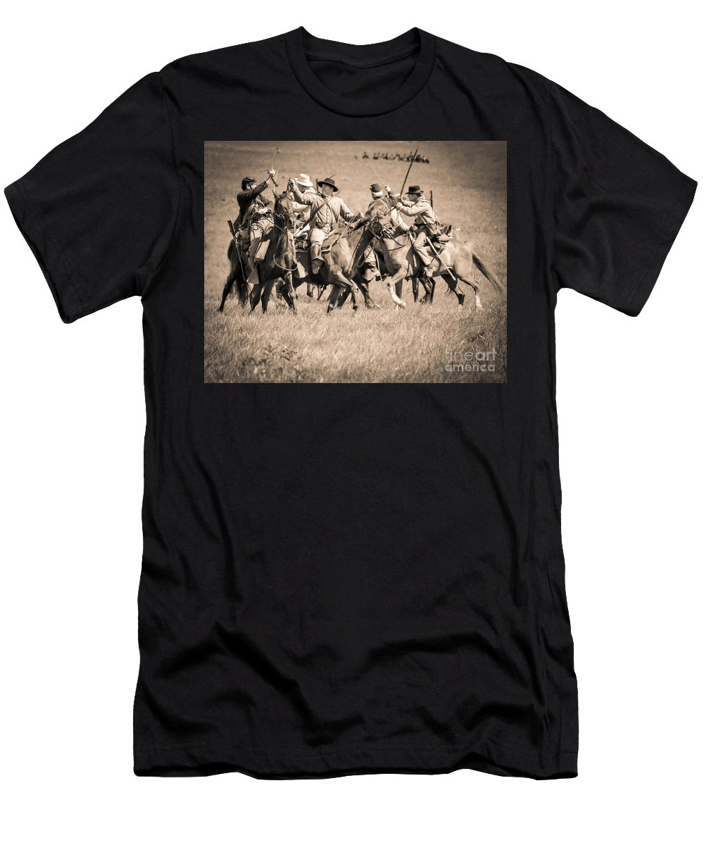 150th Men's T-Shirt (Athletic Fit) featuring the photograph Gettysburg Cavalry Battle 7948s by Cynthia Staley