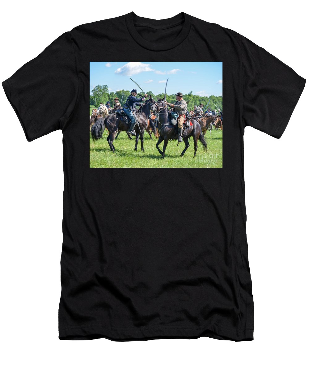 150th Men's T-Shirt (Athletic Fit) featuring the photograph Gettysburg Cavalry Battle 7978c by Cynthia Staley