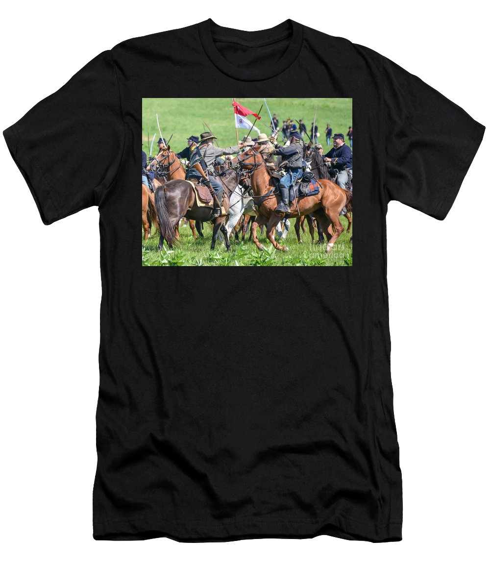150th Men's T-Shirt (Athletic Fit) featuring the photograph Gettysburg Cavalry Battle 8021c by Cynthia Staley