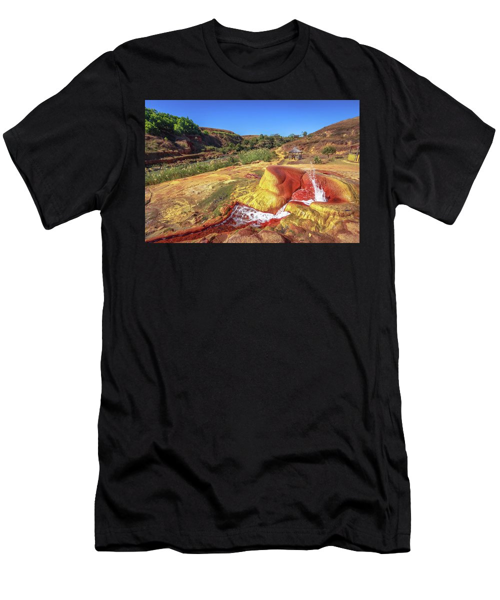 Chutes Lily Men's T-Shirt (Athletic Fit) featuring the photograph Geysers Of Madagascar by Louloua Asgaraly