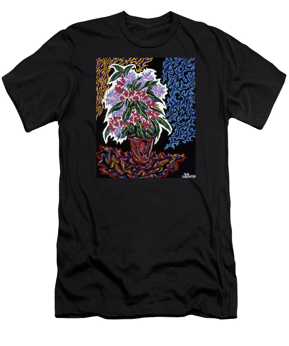 Still Life Men's T-Shirt (Athletic Fit) featuring the painting Ghost Flower by Robert SORENSEN
