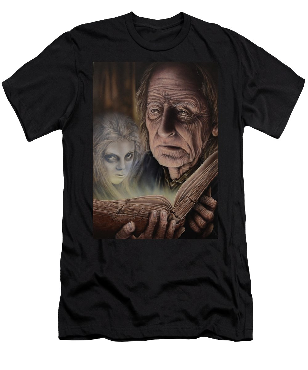 Airbrush T-Shirt featuring the painting Ghost In The Book by Robert Haasdijk