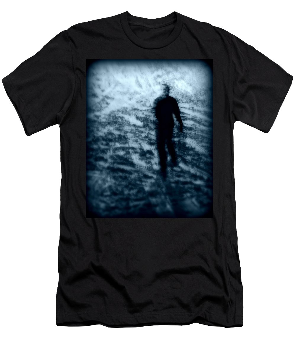 Blue Men's T-Shirt (Athletic Fit) featuring the photograph Ghost In The Snow by Perry Webster