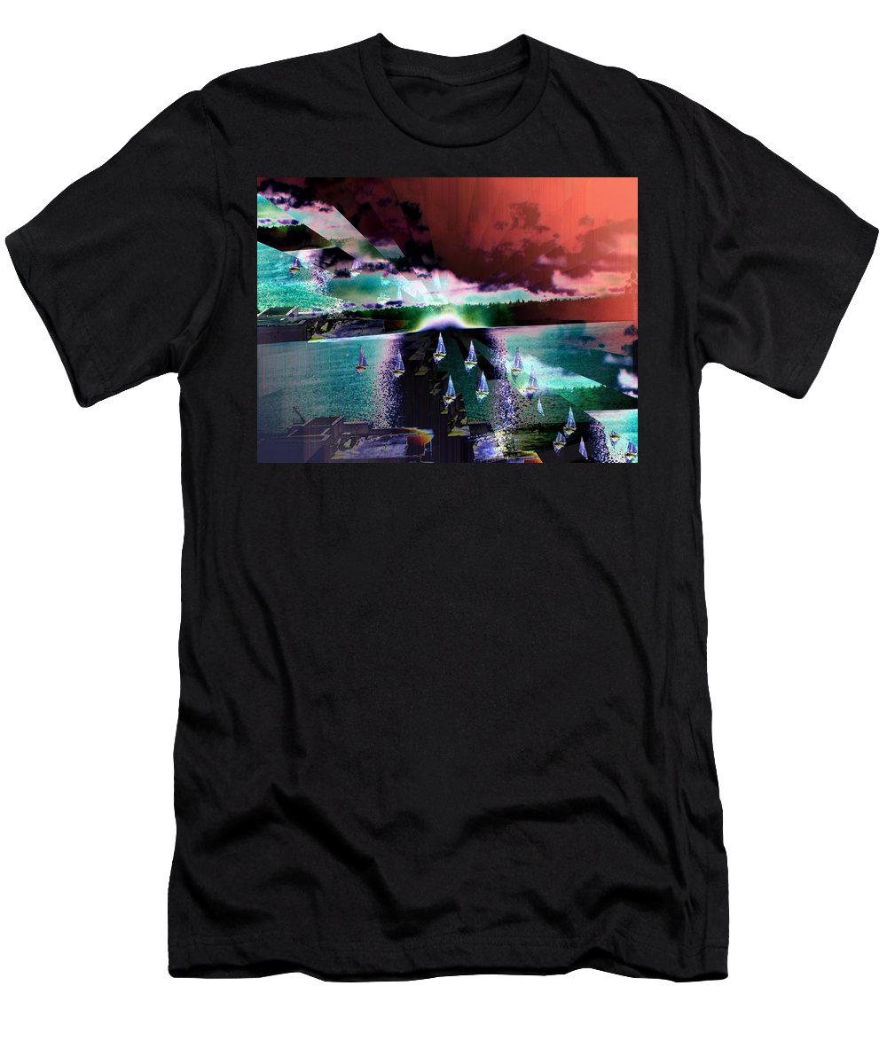 Seattle Men's T-Shirt (Athletic Fit) featuring the digital art Ghost Regatta by Tim Allen