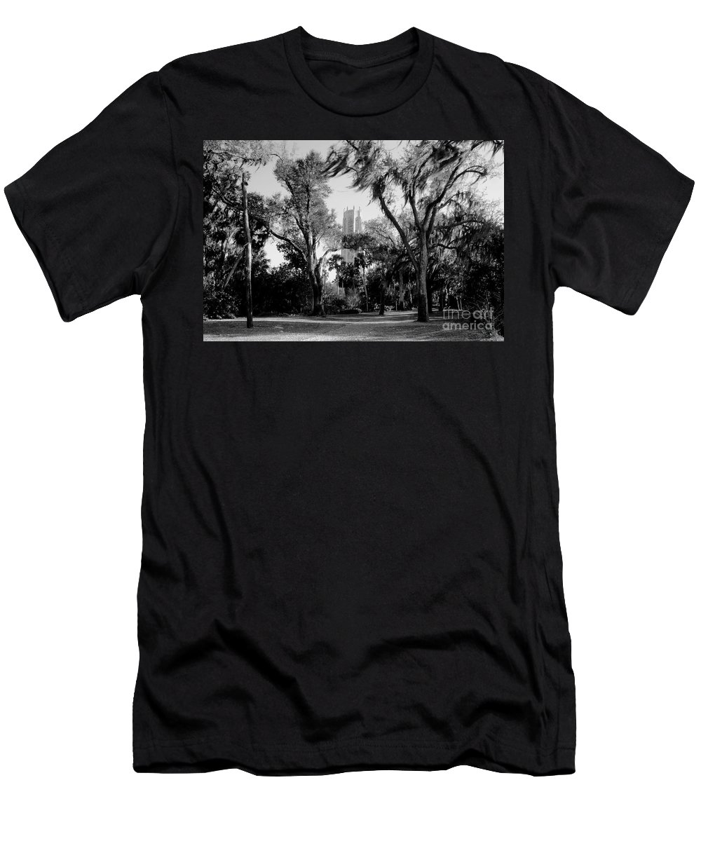 Bok Tower Men's T-Shirt (Athletic Fit) featuring the photograph Ghostly Bok Tower by David Lee Thompson
