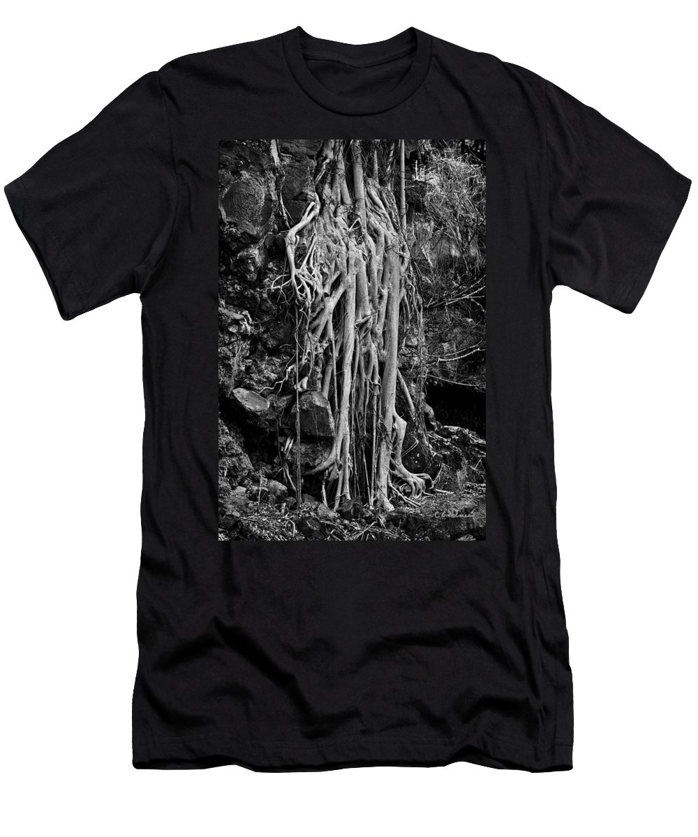 Hawaii Men's T-Shirt (Athletic Fit) featuring the photograph Ghostly Roots - Bw by Christopher Holmes