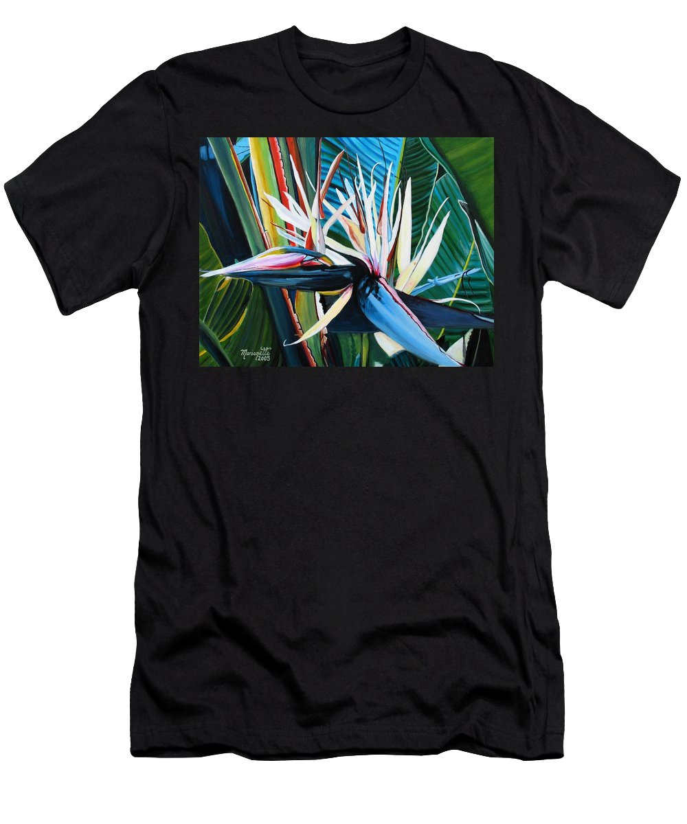 Bird Men's T-Shirt (Athletic Fit) featuring the painting Giant Bird Of Paradise by Marionette Taboniar