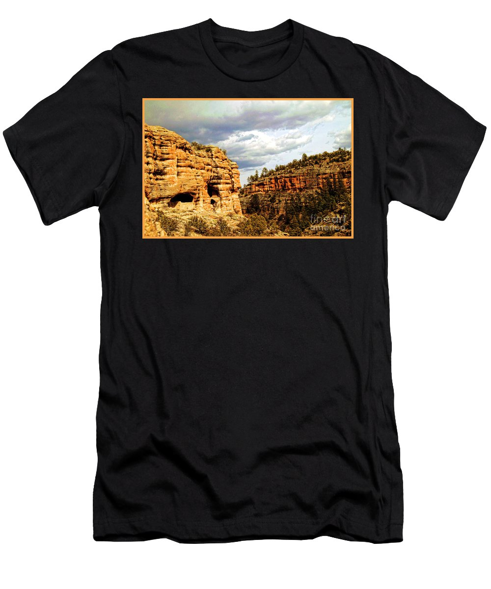 Gila Cliff Dwellings National Monument Men's T-Shirt (Athletic Fit) featuring the photograph Gila Cliff Dwellings National Monument by Doug Berry