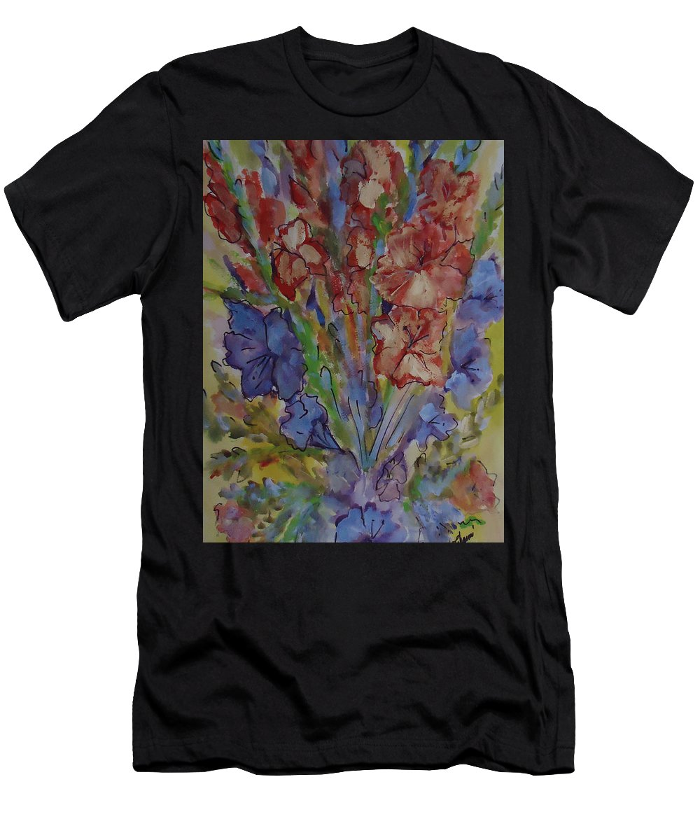 A Bouquet Of Mixed Flowers Men's T-Shirt (Athletic Fit) featuring the mixed media Gilded Flowers by Charme Curtin