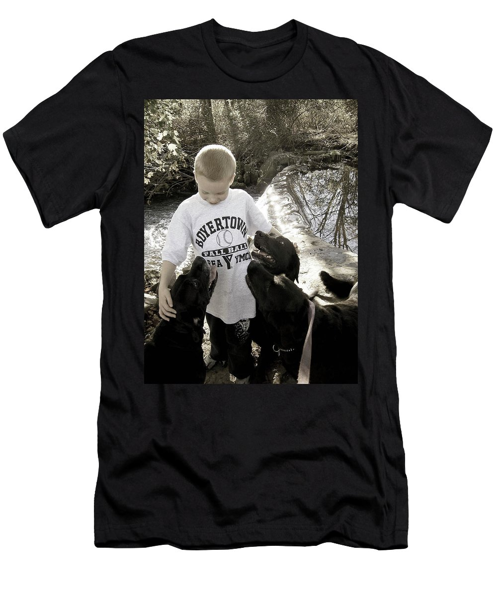 Dog Men's T-Shirt (Athletic Fit) featuring the photograph Gimme Some Lovin' by Trish Tritz