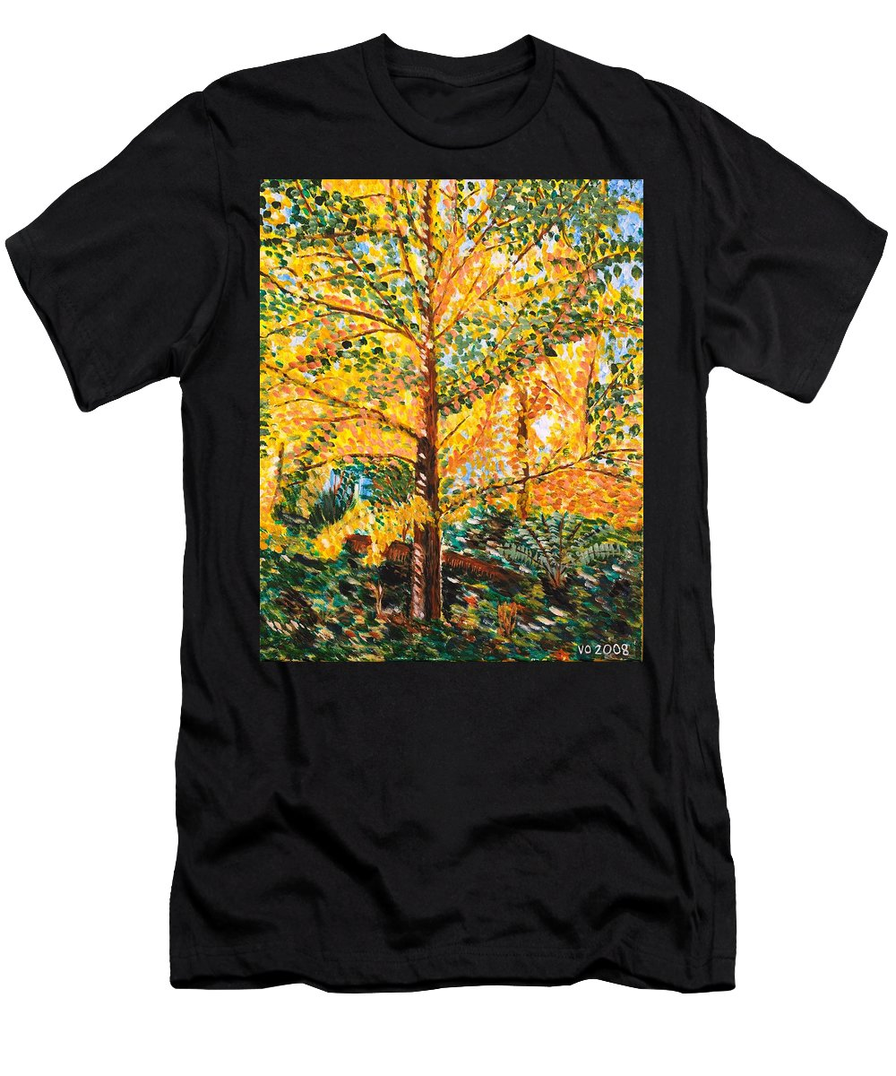 Tree Men's T-Shirt (Athletic Fit) featuring the painting Gingko Tree by Valerie Ornstein