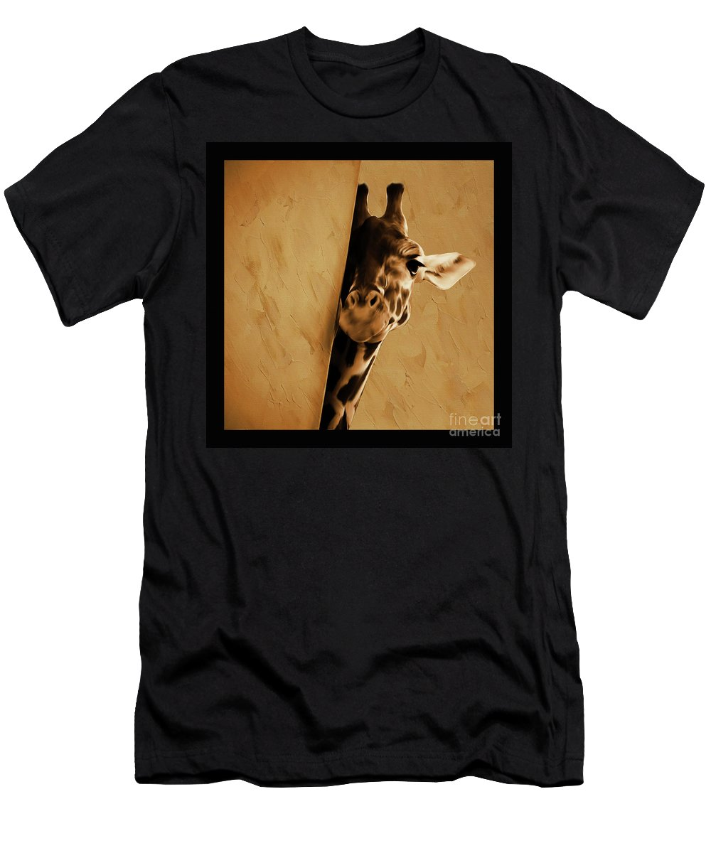 Giraffe Men's T-Shirt (Athletic Fit) featuring the painting Giraffe Hiding by Gull G