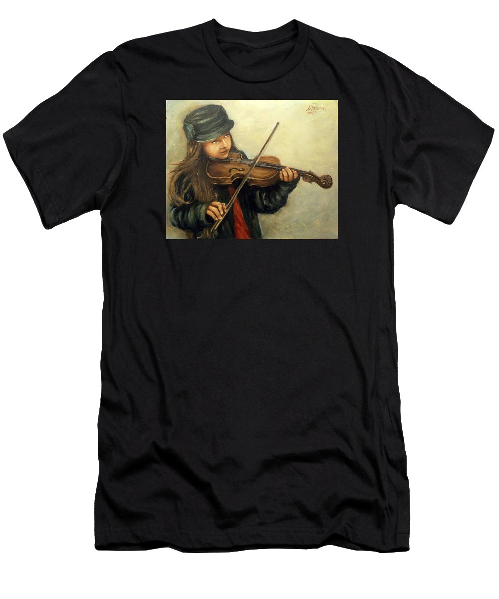 Girl Kid Child Music Violin Portrait Figurative Men's T-Shirt (Athletic Fit) featuring the painting Girl And Her Violin by Natalia Tejera