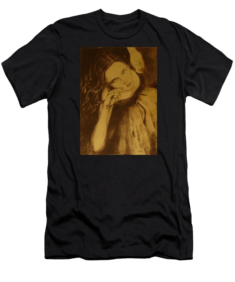 Art Drawings Men's T-Shirt (Athletic Fit) featuring the drawing Girl Dancing by Cristina Rettegi
