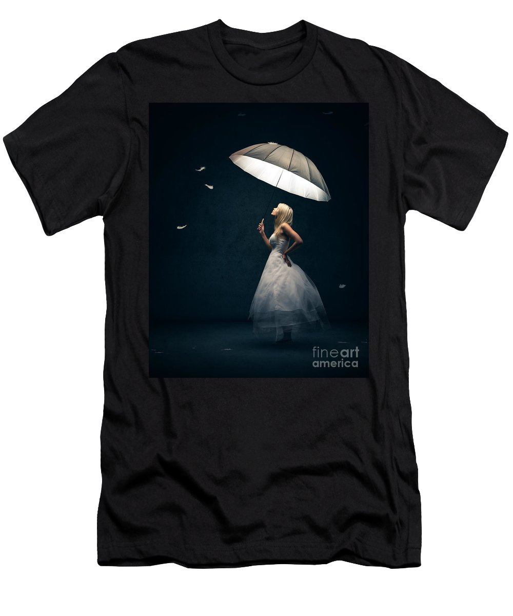 Girl T-Shirt featuring the photograph Girl with umbrella and falling feathers by Johan Swanepoel