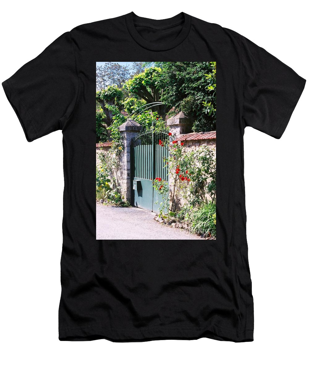 Giverny Men's T-Shirt (Athletic Fit) featuring the photograph Giverny Gate by Nadine Rippelmeyer
