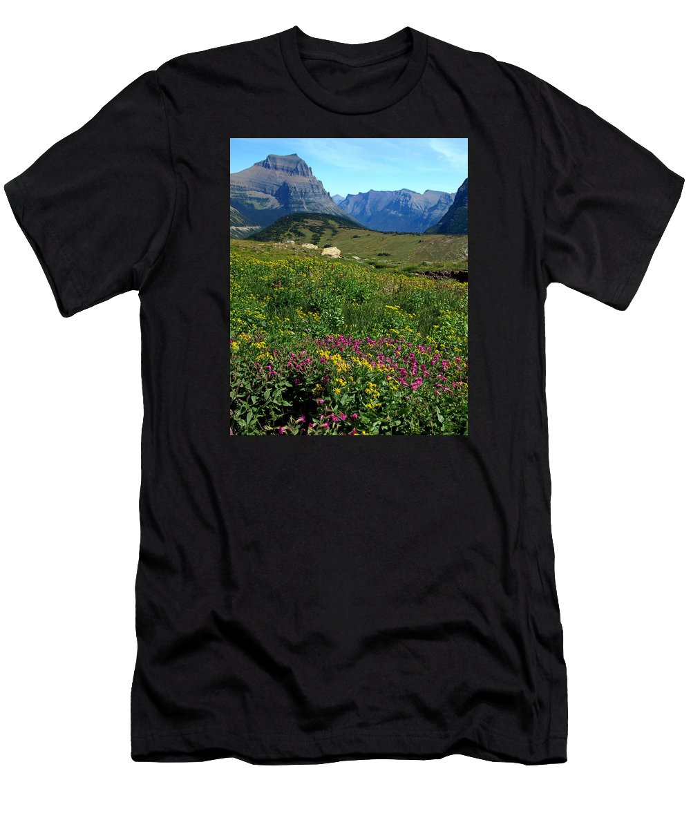 Glacier National Park Men's T-Shirt (Athletic Fit) featuring the photograph Glacier Blooms by Don Keisling
