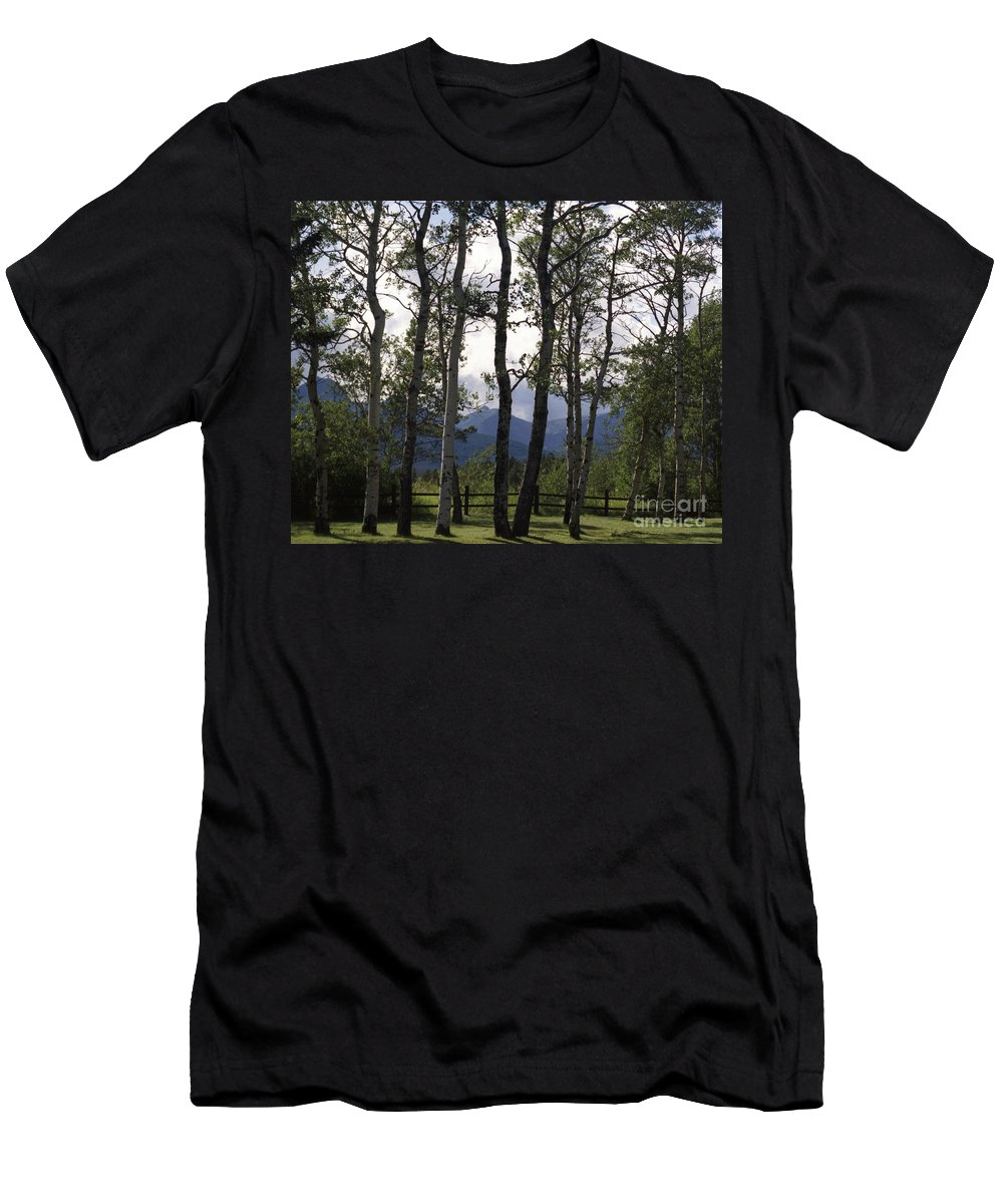 Men's T-Shirt (Athletic Fit) featuring the photograph Glacier National Park Green Trees Mountains by Heather Kirk