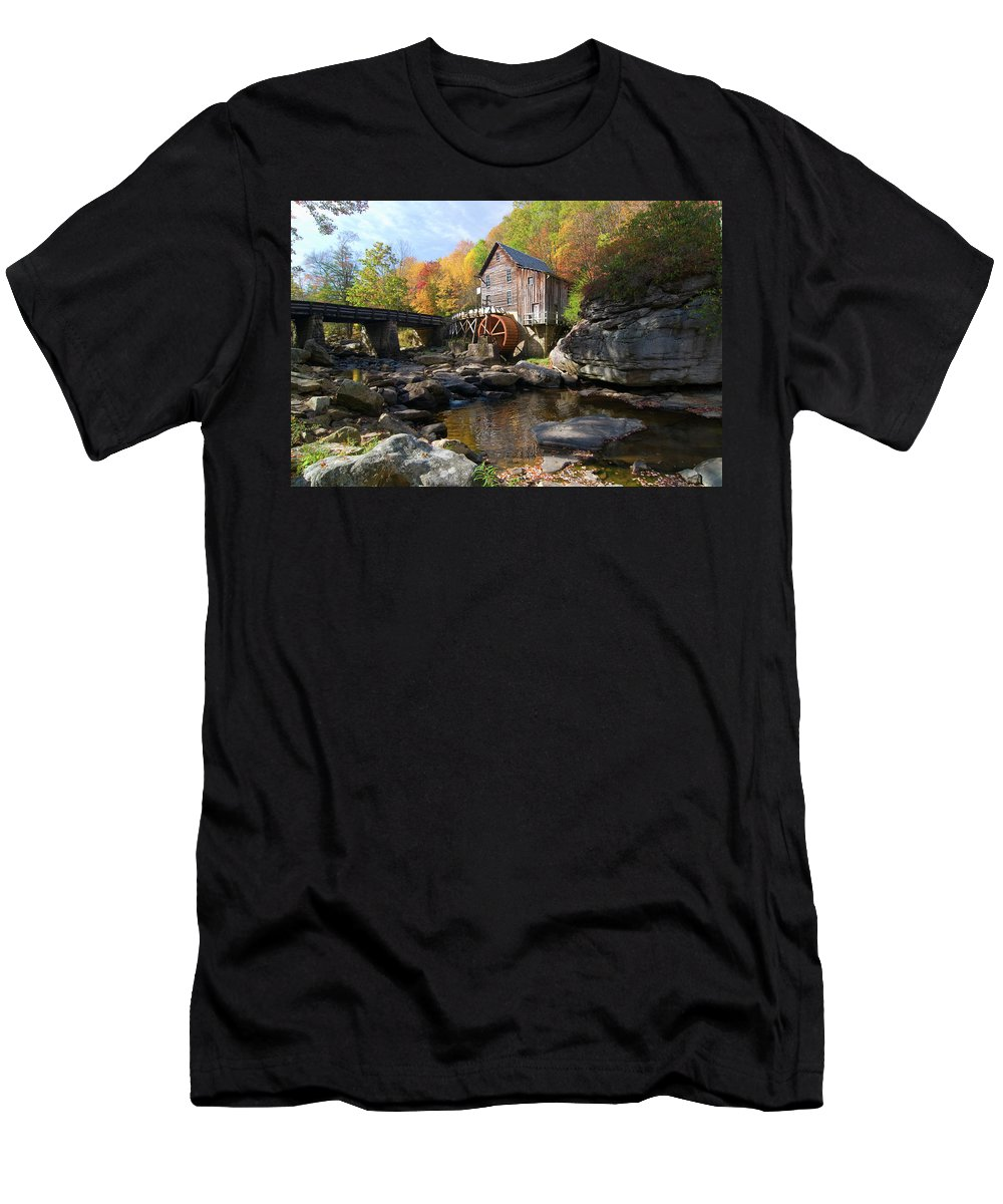 Mill Men's T-Shirt (Athletic Fit) featuring the photograph Glade Creek Grist Mill by Steve Stuller