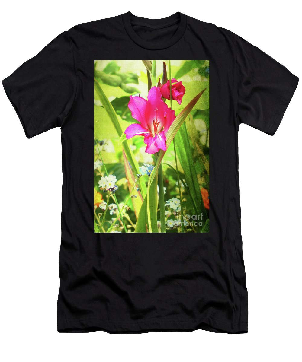 Flower Men's T-Shirt (Athletic Fit) featuring the photograph Gladioli Byzantinus Textured by Terri Waters