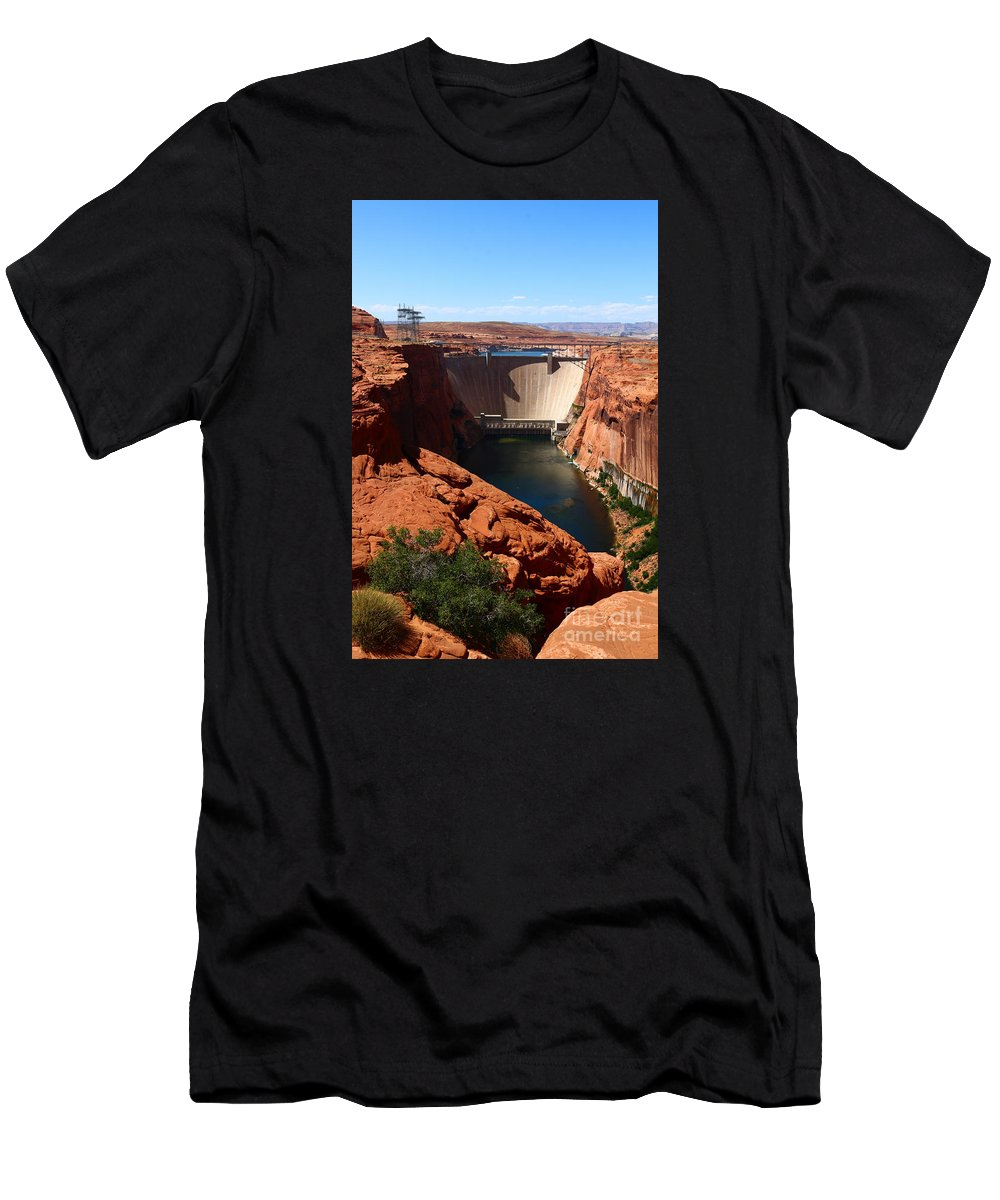 Dam Men's T-Shirt (Athletic Fit) featuring the photograph Glen Canyon Dam - Arizona by Christiane Schulze Art And Photography