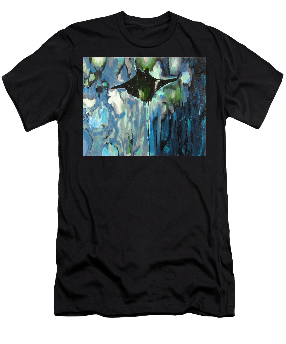 Stingray Men's T-Shirt (Athletic Fit) featuring the painting Gliding Stingray by Heather Lennox