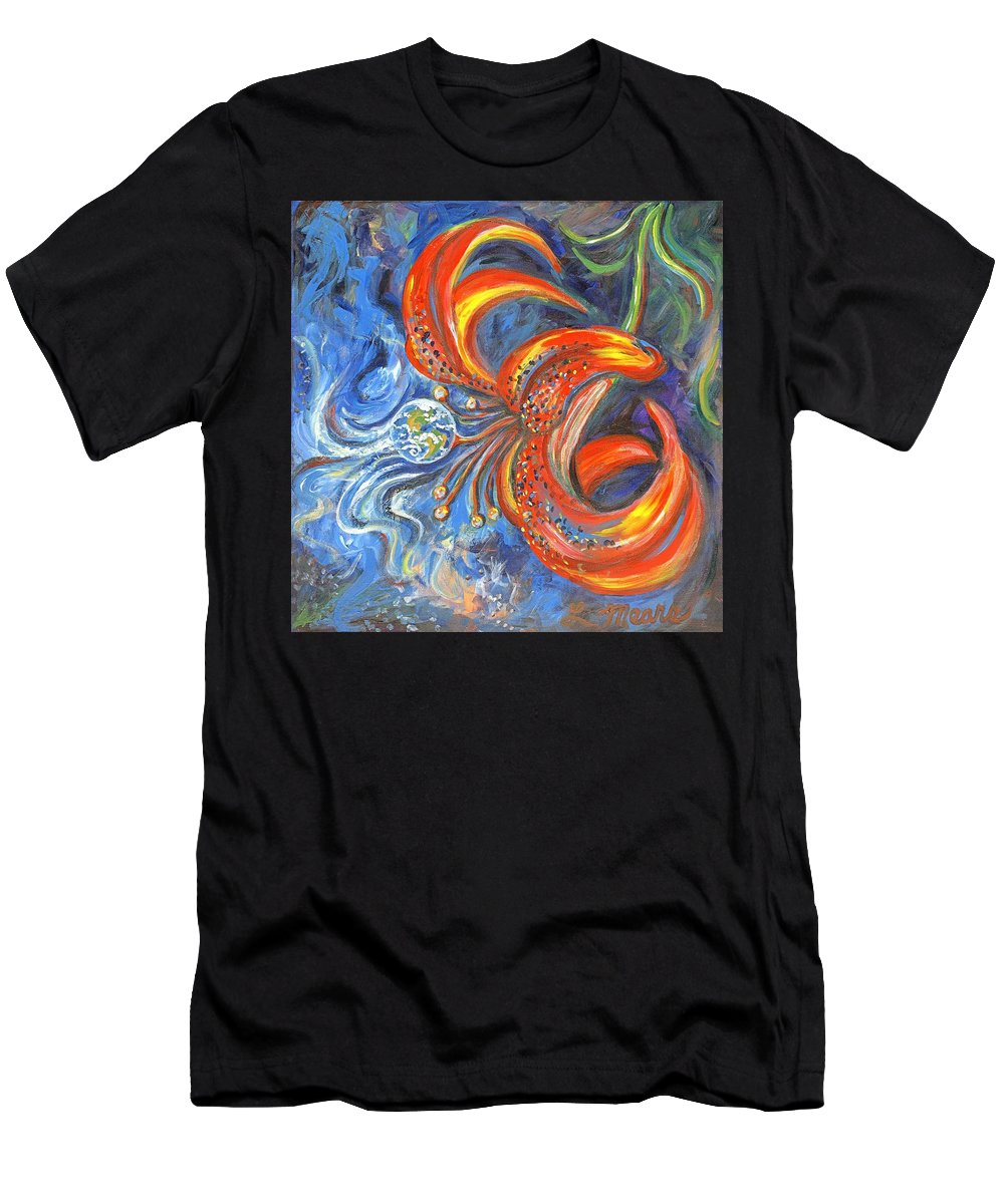 Flower T-Shirt featuring the painting Global Lily by Linda Mears