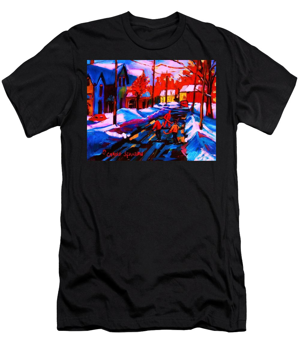 Streethockey Men's T-Shirt (Athletic Fit) featuring the painting Glorious Day For A Game by Carole Spandau