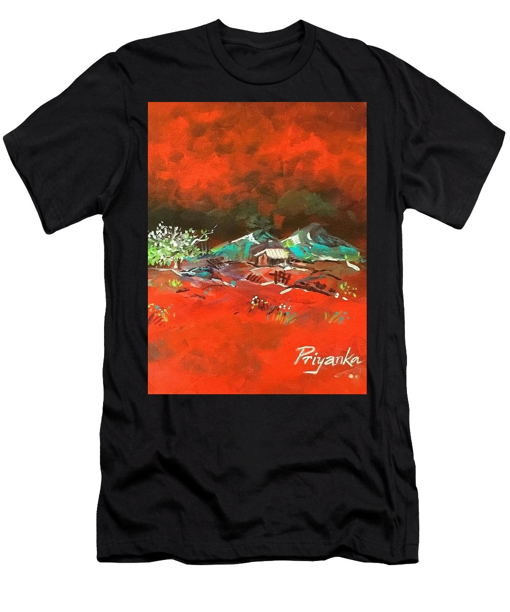 Landscape Men's T-Shirt (Athletic Fit) featuring the painting Glorious Red by Priyanka Ray