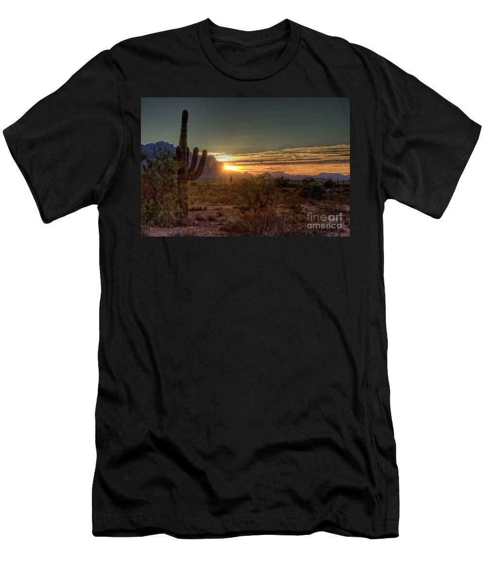 Arizona Men's T-Shirt (Athletic Fit) featuring the photograph Glorious Sunrise by Saija Lehtonen