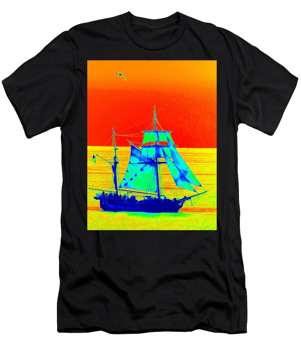Sailing Men's T-Shirt (Athletic Fit) featuring the photograph Glow Ship 6 Photograph by Kimberly Walker