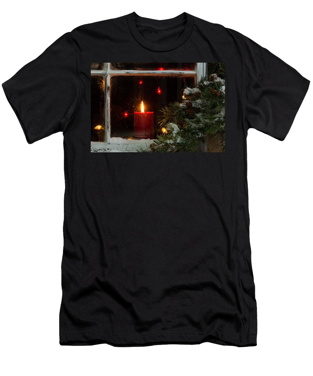 Christmas Men's T-Shirt (Athletic Fit) featuring the photograph Glowing Christmas Candle In Frosted Home Window by Thomas Baker