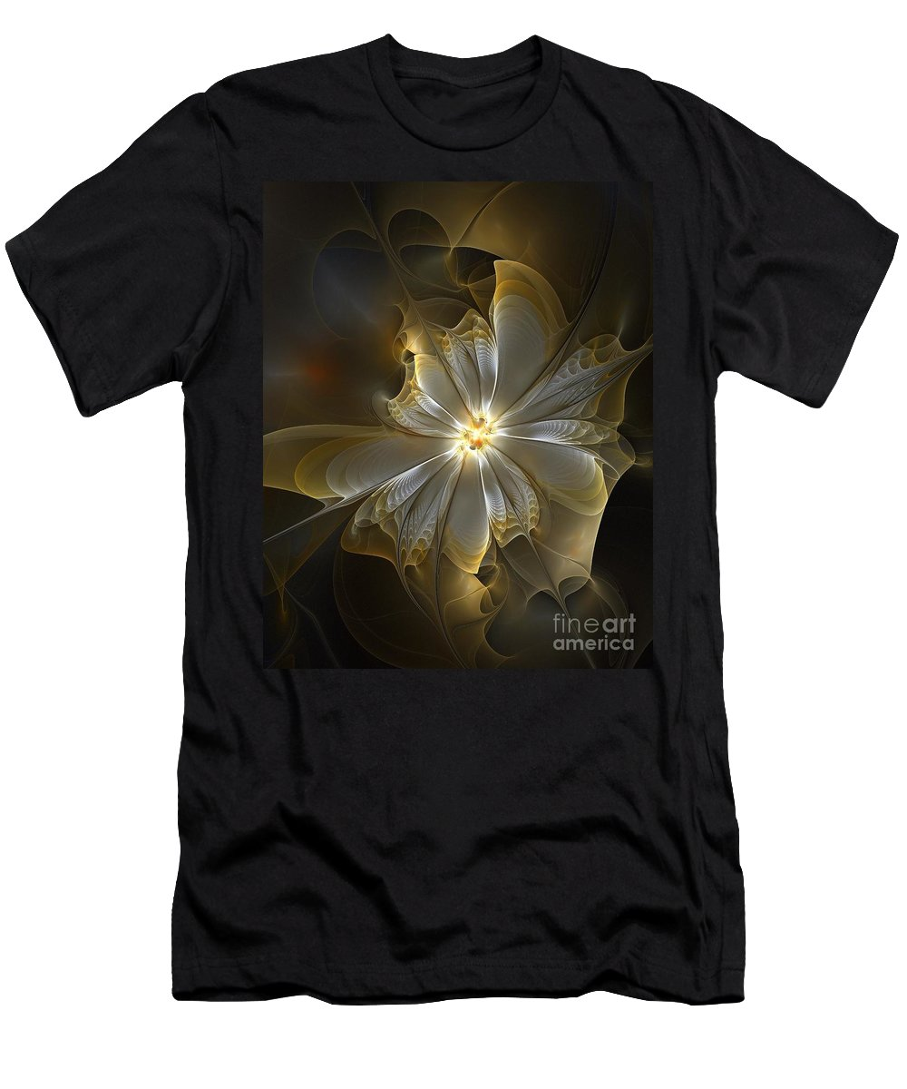 Digital Art Men's T-Shirt (Athletic Fit) featuring the digital art Glowing In Silver And Gold by Amanda Moore