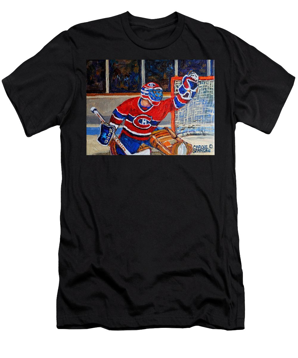Hockey T-Shirt featuring the painting Goalie Makes The Save Stanley Cup Playoffs by Carole Spandau