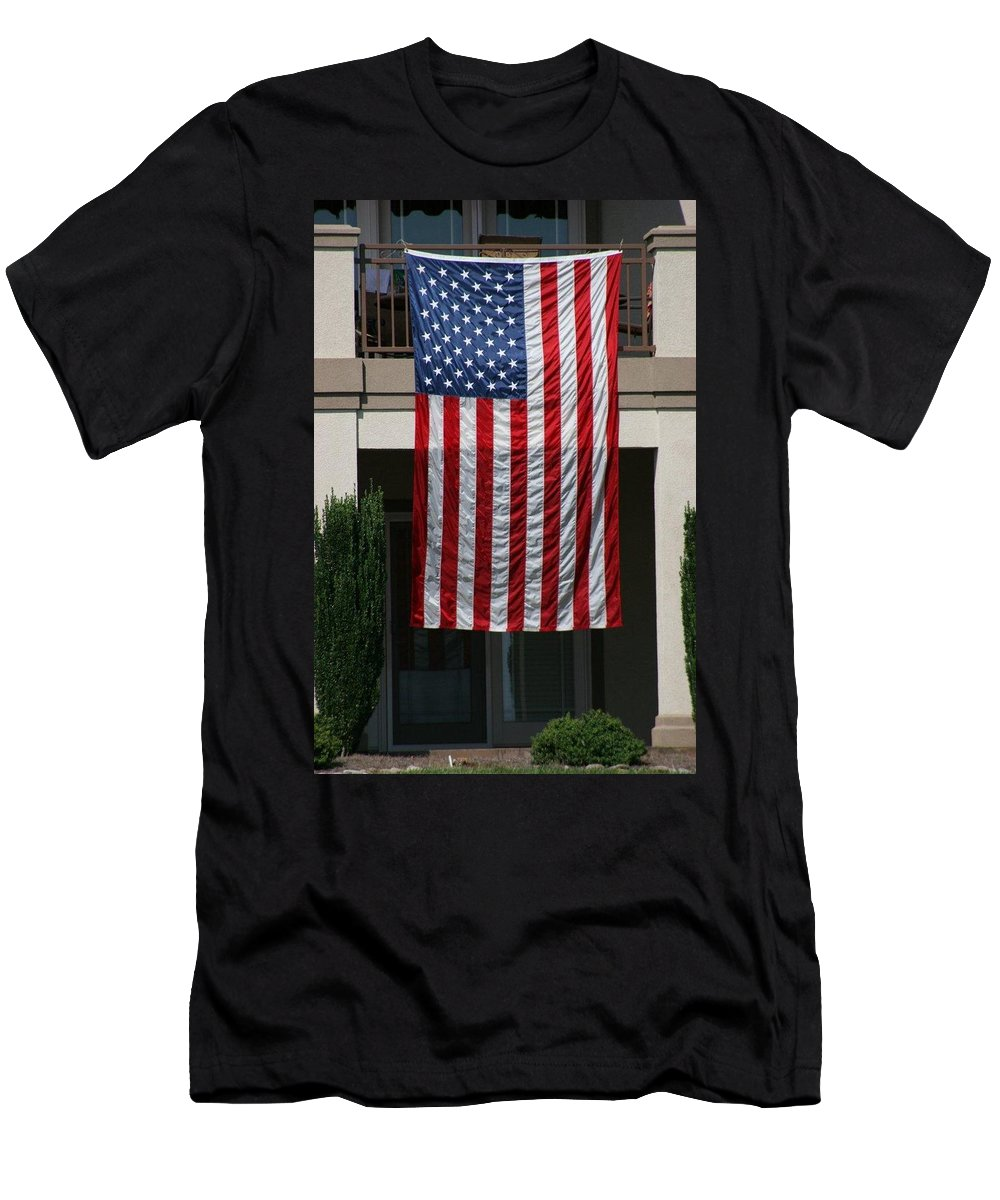 Flag Men's T-Shirt (Athletic Fit) featuring the photograph God Bless by Jean Macaluso