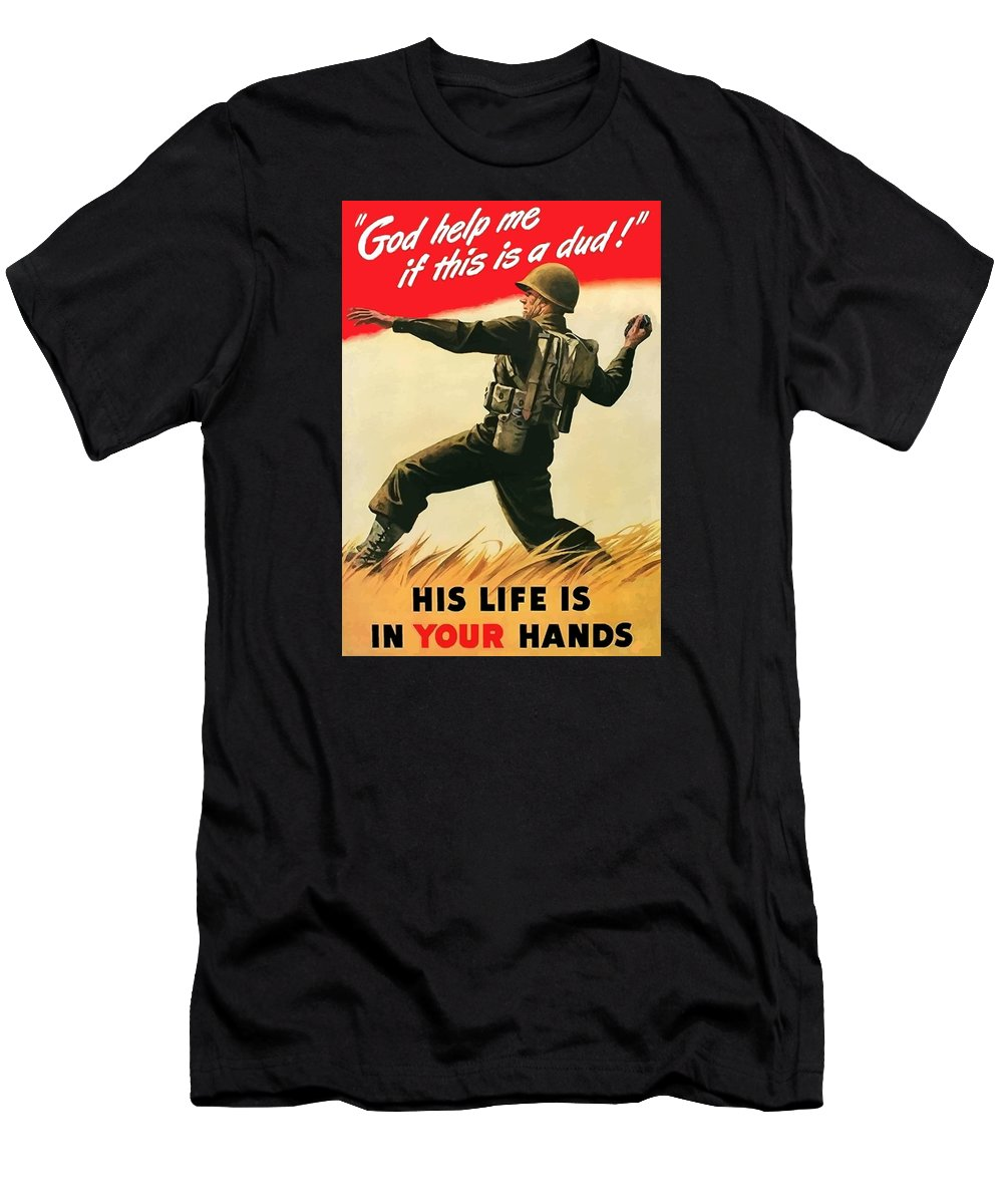 War Propaganda Men's T-Shirt (Athletic Fit) featuring the painting God Help Me If This Is A Dud by War Is Hell Store