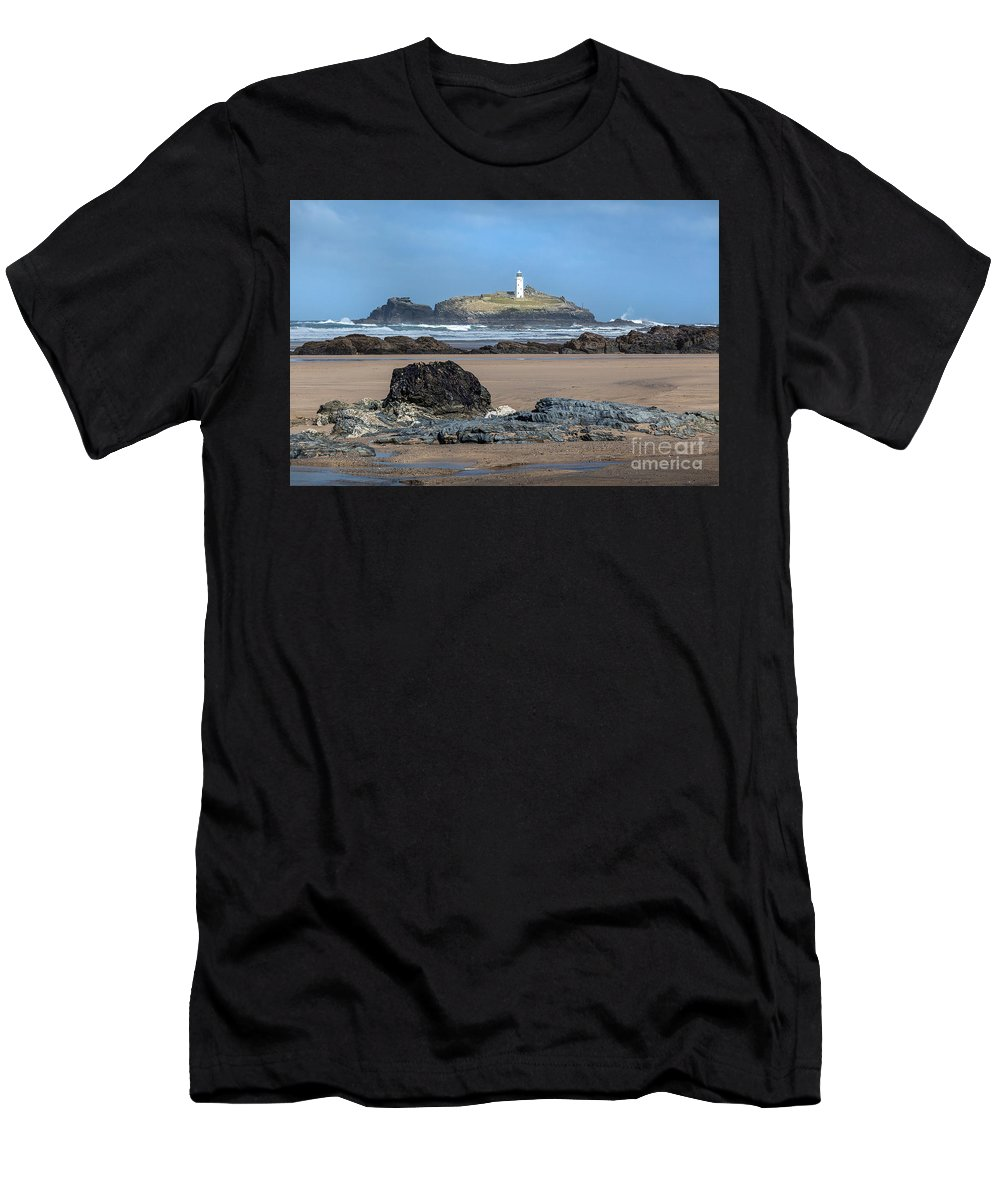 Godrevy Men's T-Shirt (Athletic Fit) featuring the photograph Godrevy Beach by Rik OHare