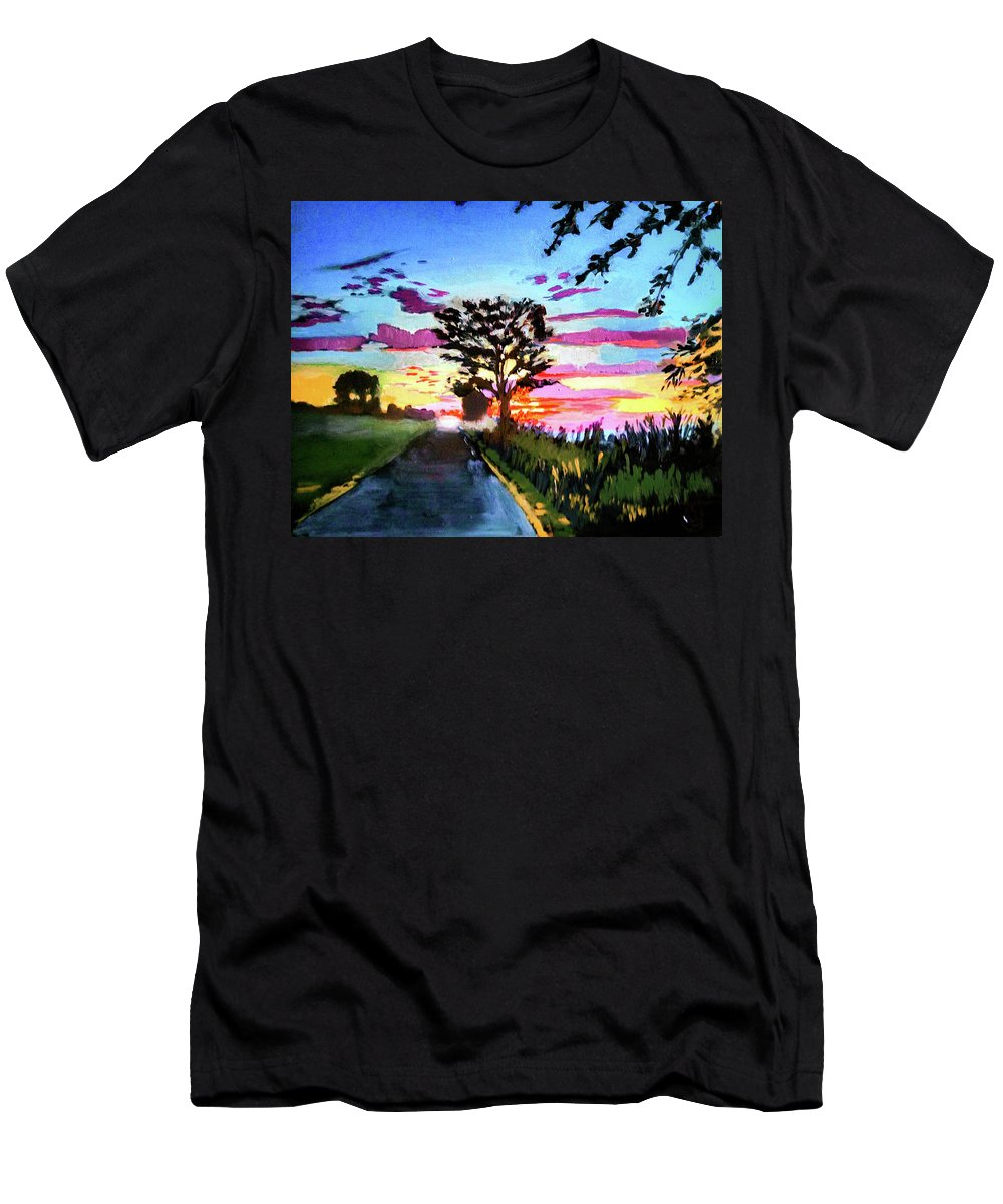 Landscape Men's T-Shirt (Athletic Fit) featuring the painting God's On Booe Road by Brian Johnson