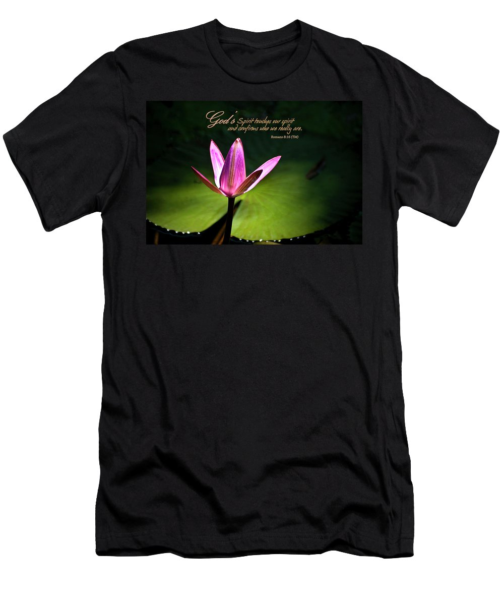 Water Lily Men's T-Shirt (Athletic Fit) featuring the photograph God's Spirit by Carolyn Marshall