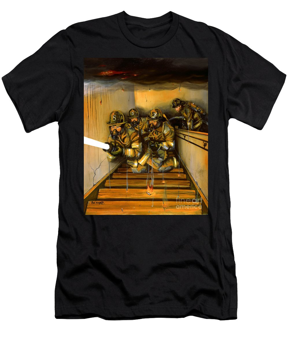 Fire Fighting Men's T-Shirt (Athletic Fit) featuring the painting Goin' To Work by Paul Walsh