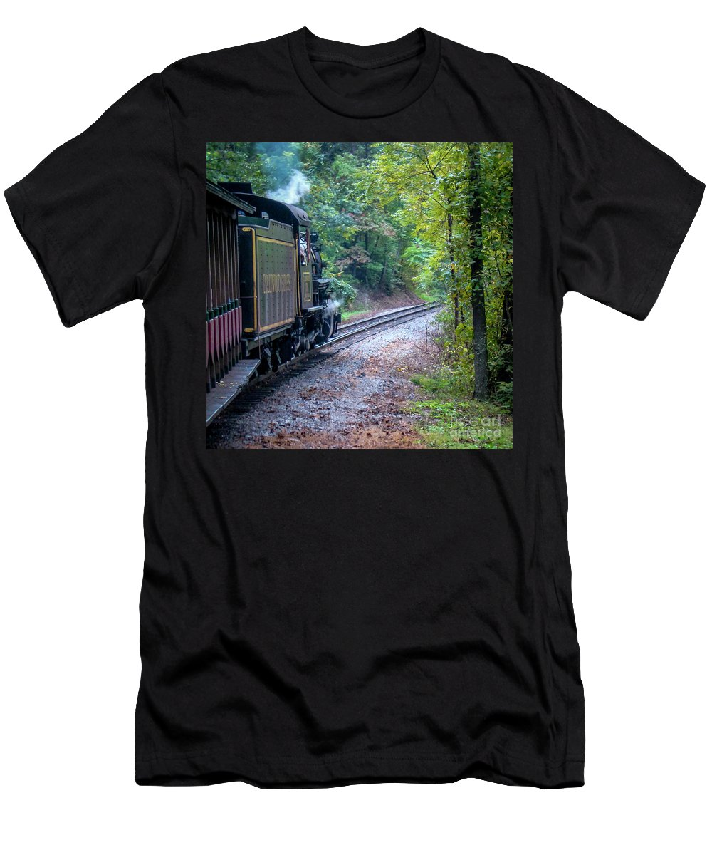 Dollywood Men's T-Shirt (Athletic Fit) featuring the photograph Going Around The Bend by Nancy L Marshall