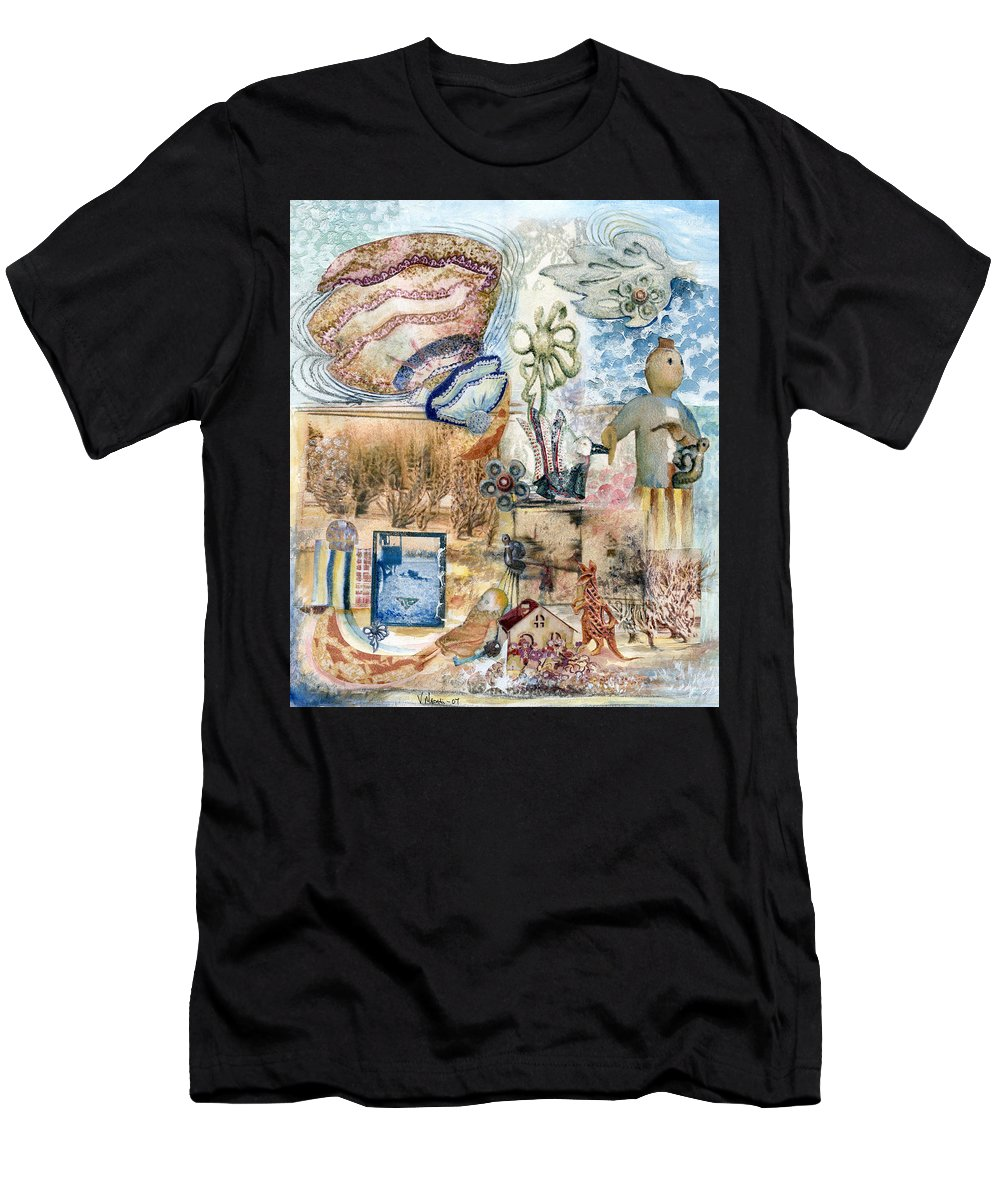Fantasy Digital Art Men's T-Shirt (Athletic Fit) featuring the painting Going Down by Valerie Meotti