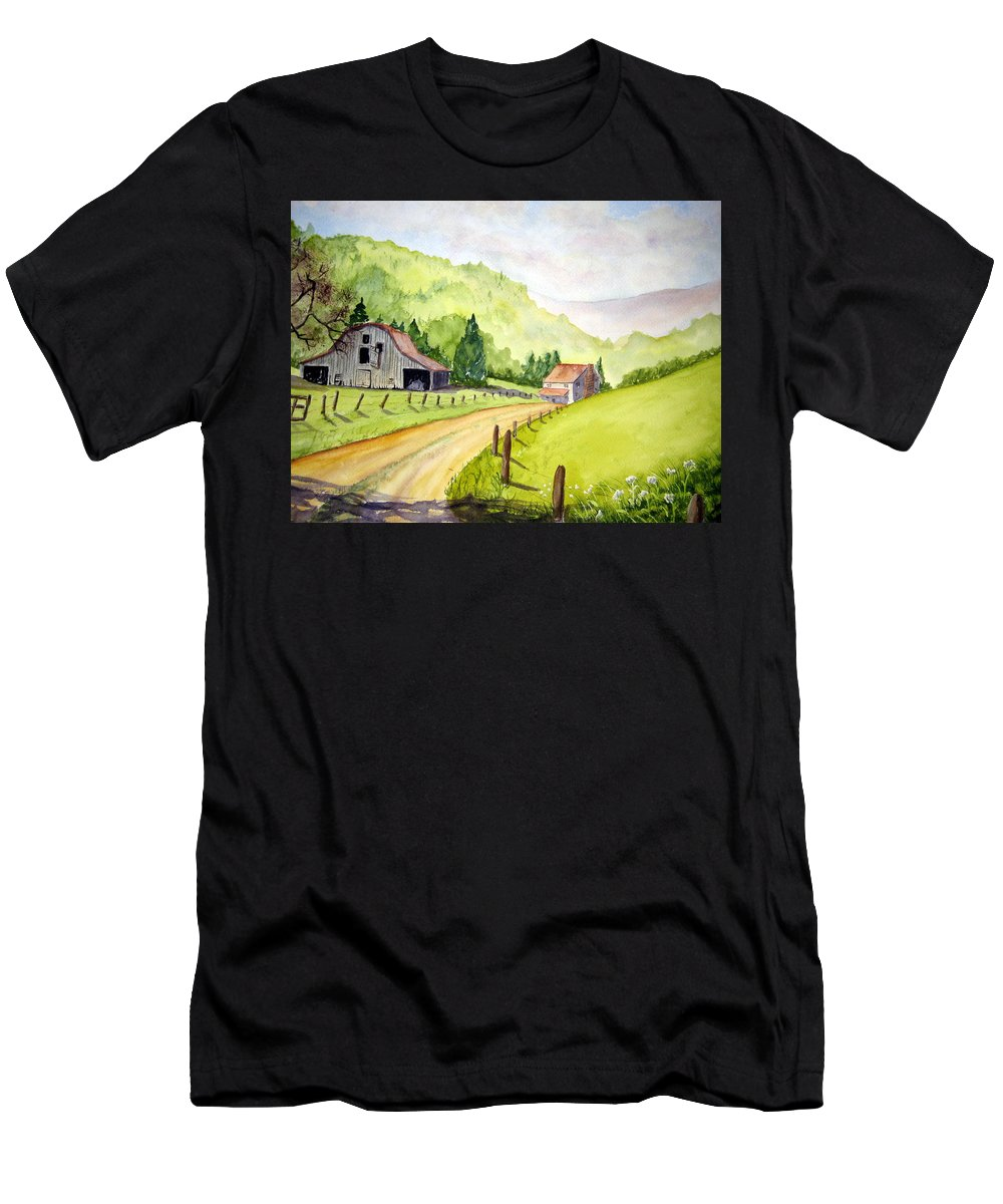 Barns Men's T-Shirt (Athletic Fit) featuring the painting Going Home by Julia RIETZ