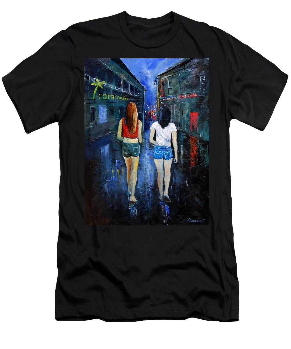 Girl Men's T-Shirt (Athletic Fit) featuring the painting Going Out Tonight by Pol Ledent