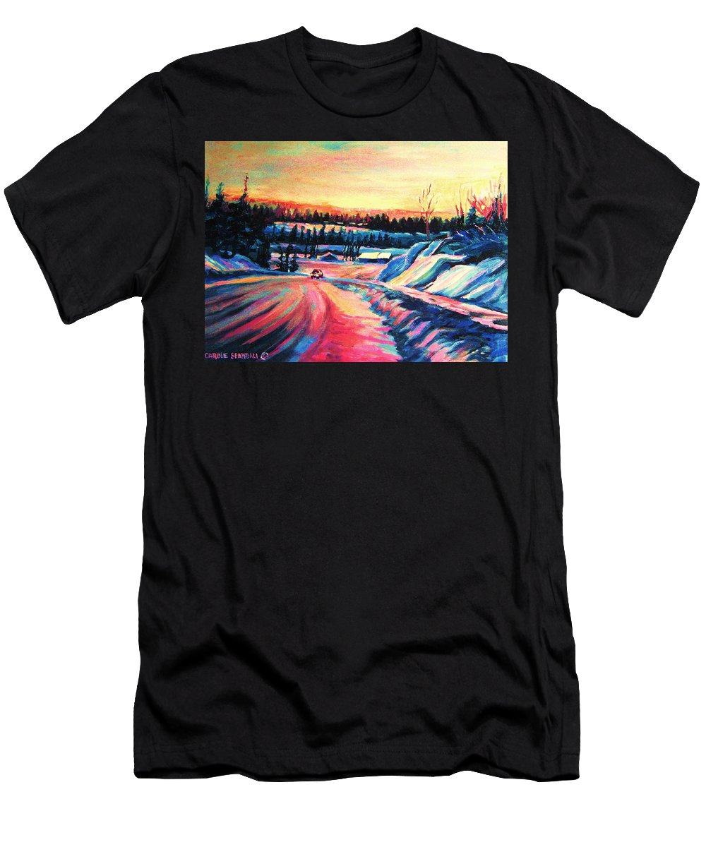 Winterscene Men's T-Shirt (Athletic Fit) featuring the painting Going Places by Carole Spandau