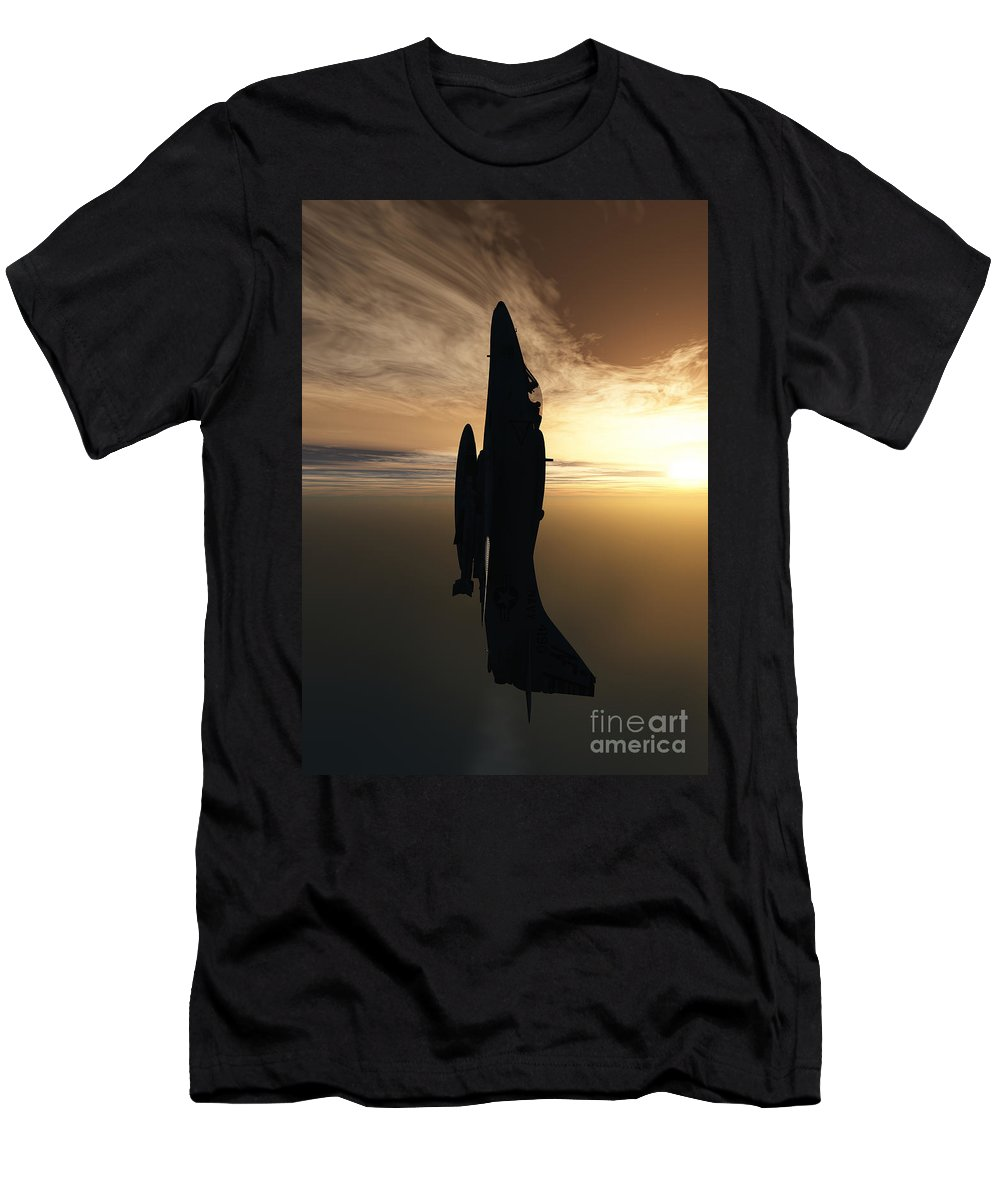 Aviation Men's T-Shirt (Athletic Fit) featuring the digital art Going Vertical by Richard Rizzo