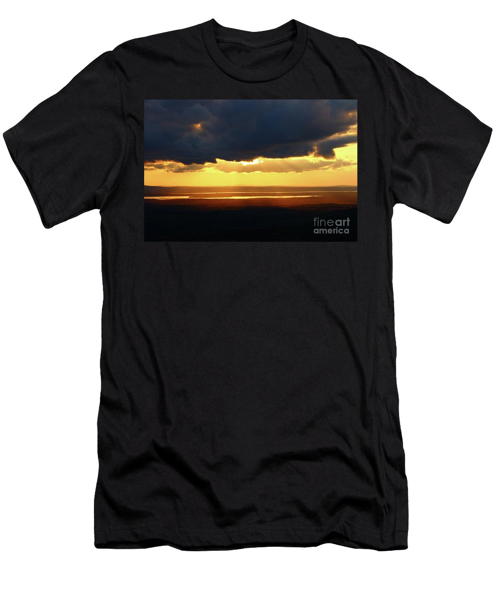 Landscape Men's T-Shirt (Athletic Fit) featuring the photograph Gold Behind The Clouds by Nicole Engelhardt