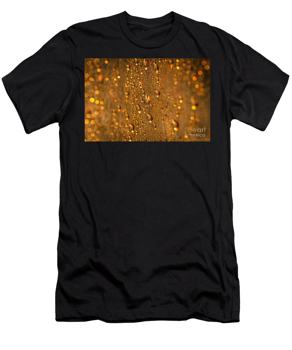 Macro Men's T-Shirt (Athletic Fit) featuring the photograph Gold Drops by Lyudmila Prokopenko
